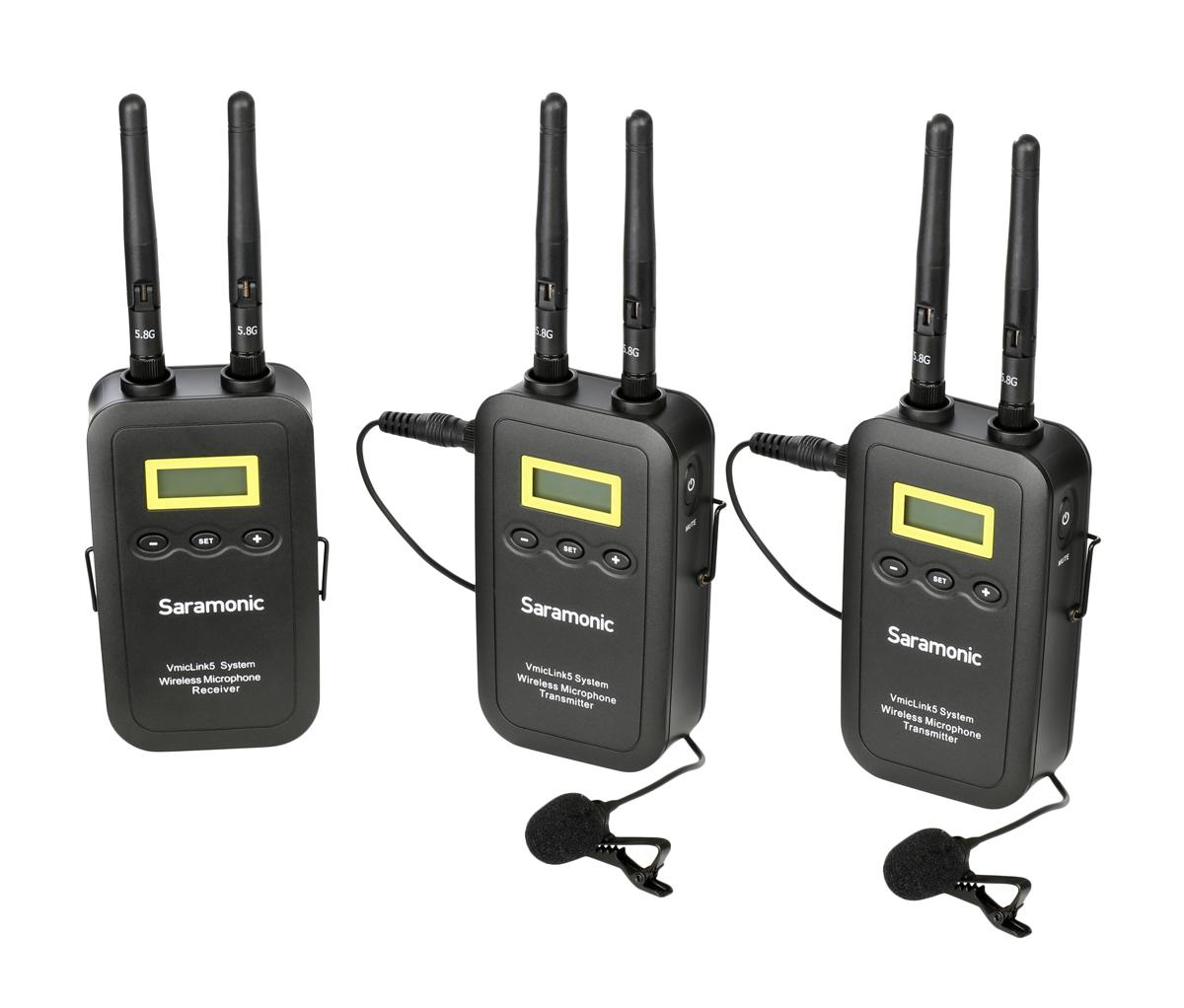 Saramonic VmicLink5 TX+TX+RX 5,8 GHz Wireless Mikrofon-System H-105872