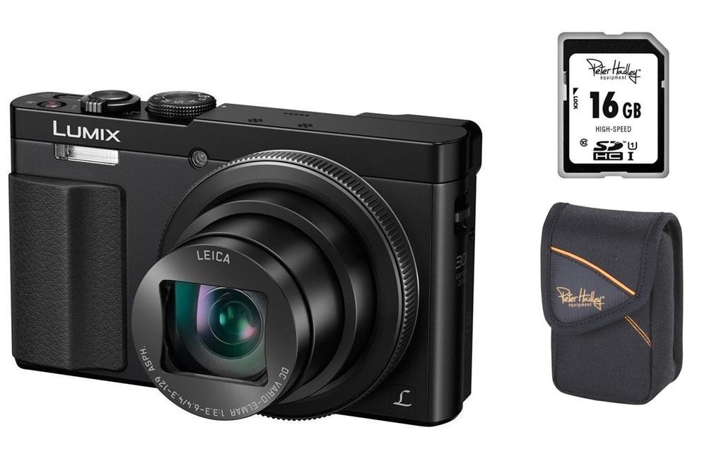 SUPER-SET Panasonic Panasonic Lumix DMC-TZ71 EG-K schwarz inkl. 16 GB SD Speicherkarte + Tasche H-TZ71KSet